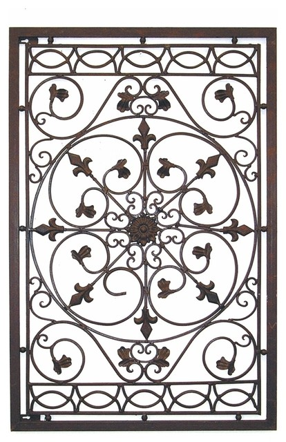 Dante Tuscan Iron Wall Grille With Fleur De Lis Accents