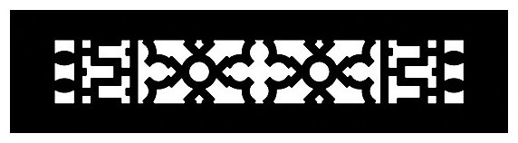 "Aluminum Scroll Pattern Grille, Black, 2""x12""."