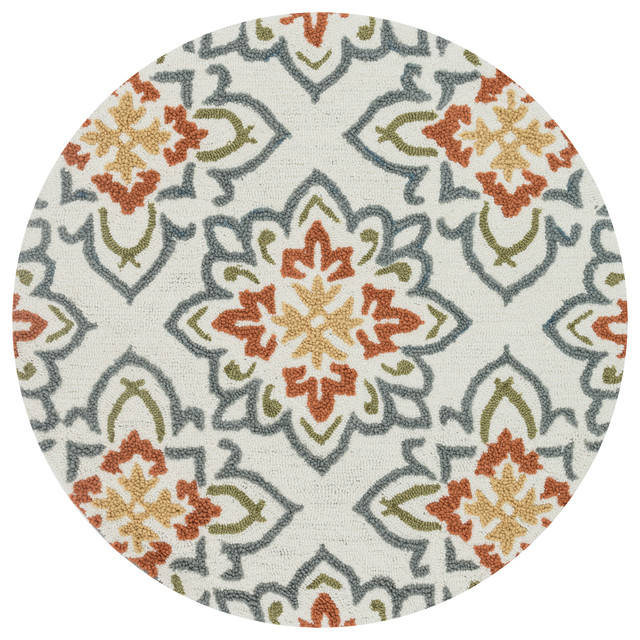 Loloi Rugs Juliana Collection Ivory And Rust 3 Round Contemporary Area