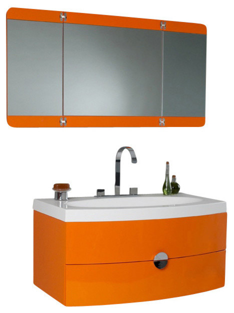 orange bathroom cabinet orange vanity three panel folding mirror cascata brushed 24076