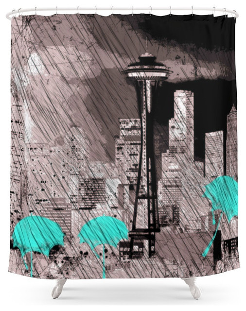 society6 seattle skyline in winter with red umbrellas shower