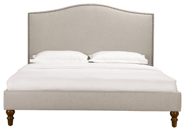 Fleurie Upholstered Bed With Nailhead Trim, Queen