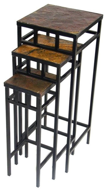 3-Pc Plant Stand Set with Slate Top