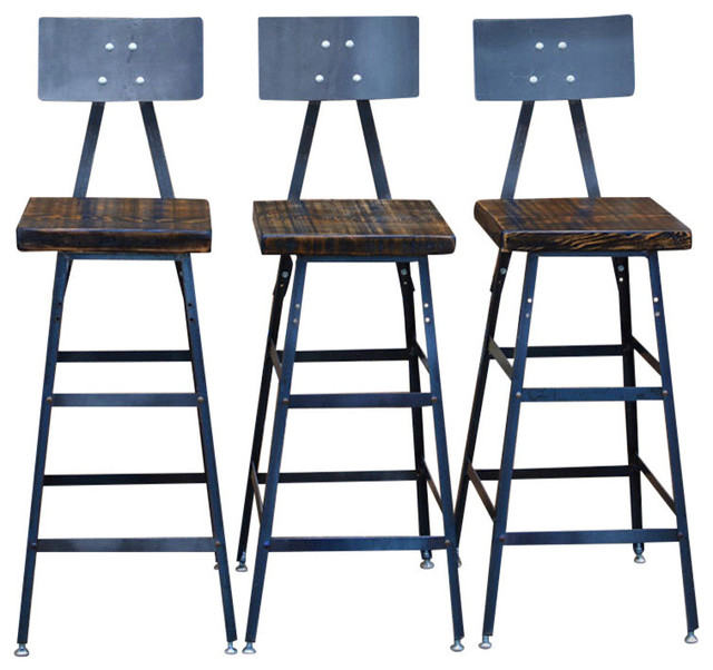 Groovy Set Of 3 Urban Bar Stools With Backs Reclaimed Barn Wood Natural Wood 18 Pdpeps Interior Chair Design Pdpepsorg