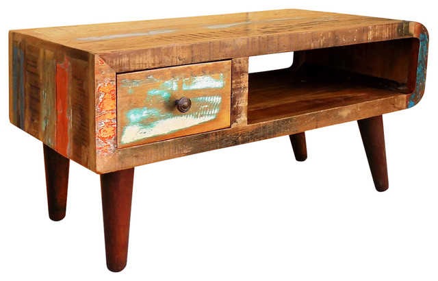 Rustic Coffee Table.Antique Coffee Table Rustic Reclaimed Wood Living Room Furniture Curved Edge