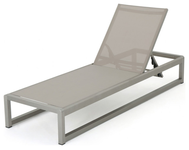 San Luis Outdoor Gray Mesh Chaise Lounge With Silver Aluminum Frame