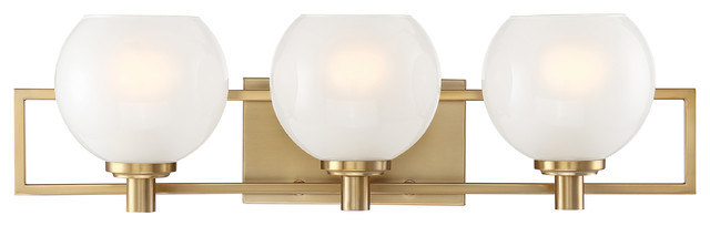 Cowen 3 Light Bath Brushed Gold Midcentury Bathroom Vanity Lighting By Lighting New York