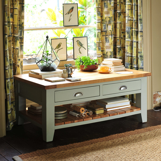 Caldecote French Grey Coffee Table With Drawers Country Living Room