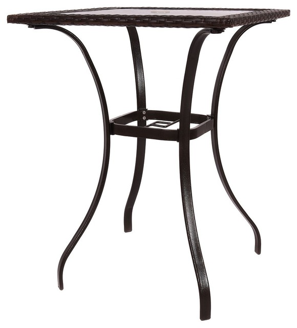 Stunning Outdoor Patio Rattan Square, Outdoor Glass Top Bar Table