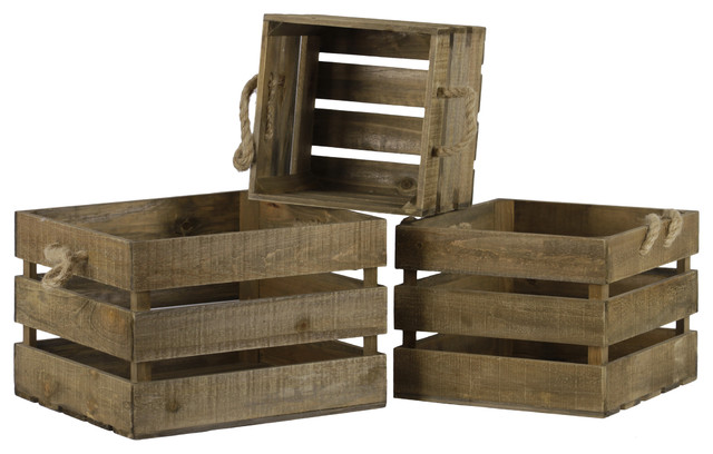 Wood Square Crates With Rope Side Handles, Natural Finish Brown, 3-Piece Set.