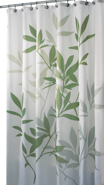 InterDesign Green Leaves Poly Shower Curtain