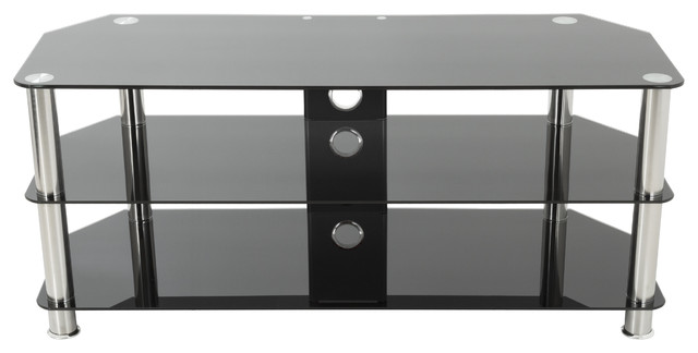 avf group tv stand cable management up to 55 tvs chrome legs reviews houzz. Black Bedroom Furniture Sets. Home Design Ideas