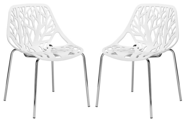 Birds Nest Dining Side Chairs, Set Of 2, White.