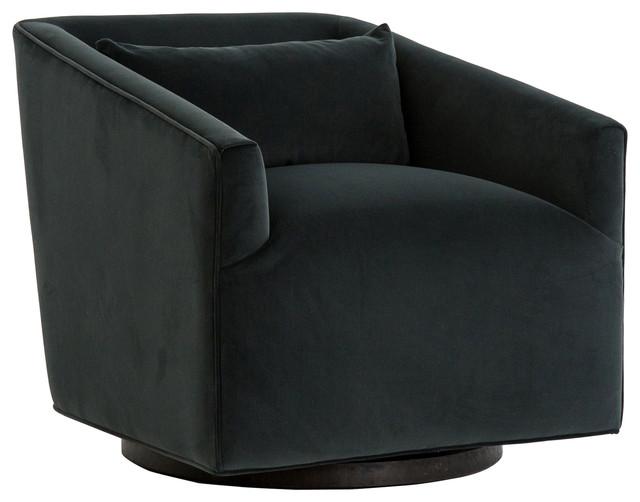 Daire Modern Smoke Velvet Upholstered Square Swivel Living Room Chair