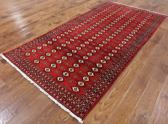 Hand Knotted Persian Bokhara Rug Red