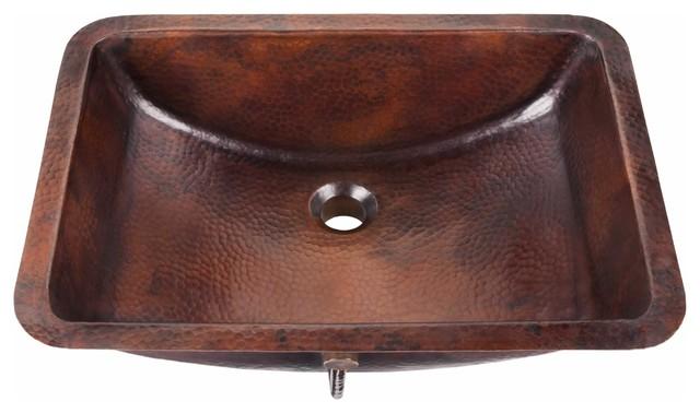 "Curie 21"" Undermount Handmade Copper Bath Sink With Overflow"