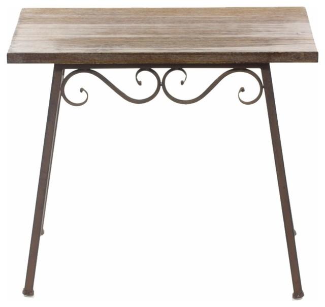 Wood And Metal Table, Brown.