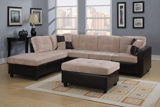 Coaster Tufted Cream Velvet Leather Sectional Sofa