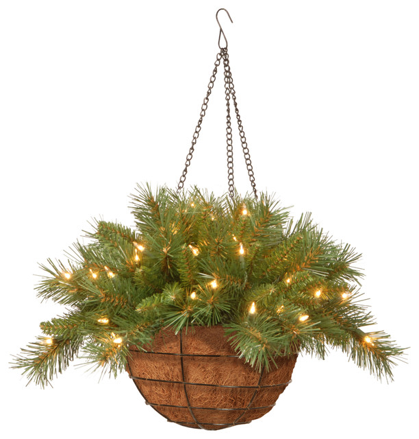Led Hanging Flower Baskets : Quot tiffany fir hanging basket with battery operated warm