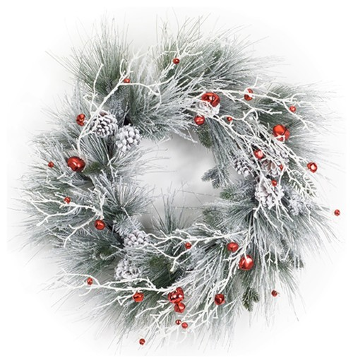 Flocked Pine and Bell Wreath, 28.5""