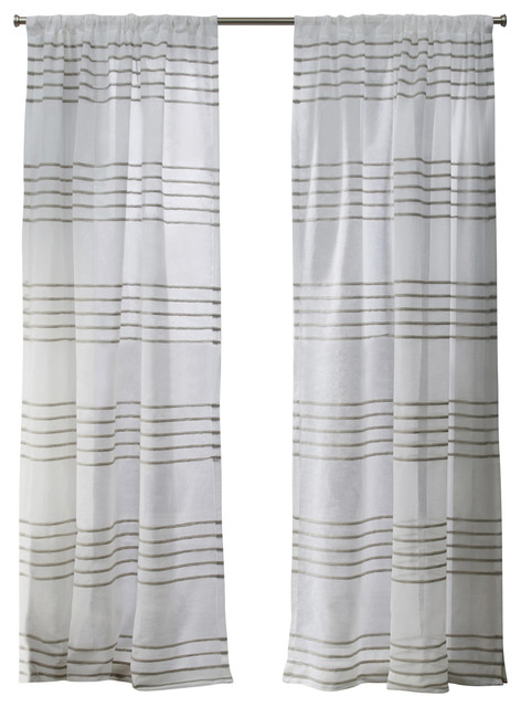 Monet Rod Pocket Top Curtains, Set Of 2, Taupe, 54x96.