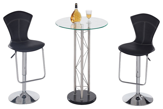 Global Furniture USA M208BT 3 Piece Round Glass Bar Table Set With Black  Stools Traditional