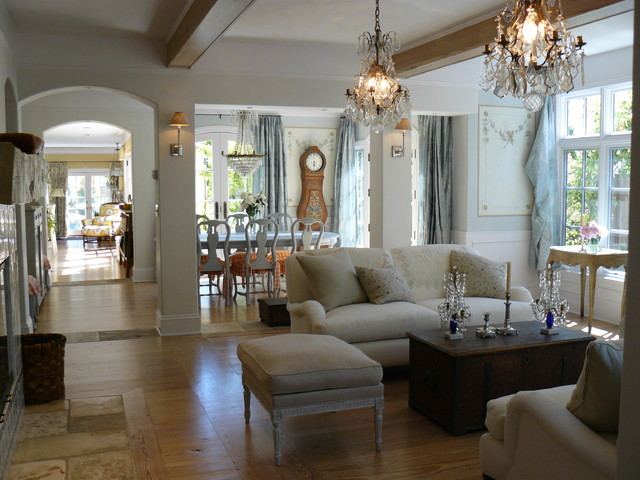 Open Floor Plan Shabby Chic Style Living Room