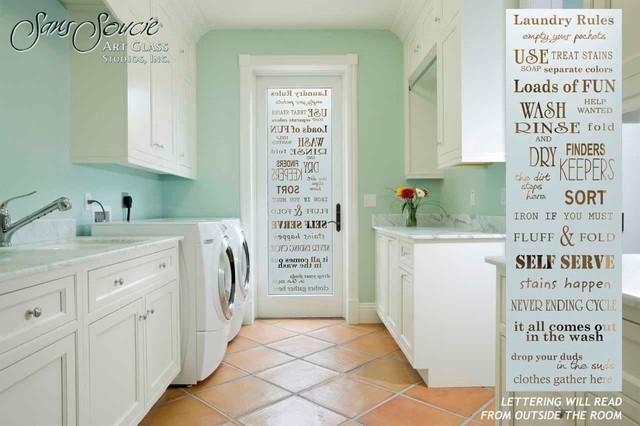 laundry room door sandblast frosted glass laundry rules klassisch modern. Black Bedroom Furniture Sets. Home Design Ideas