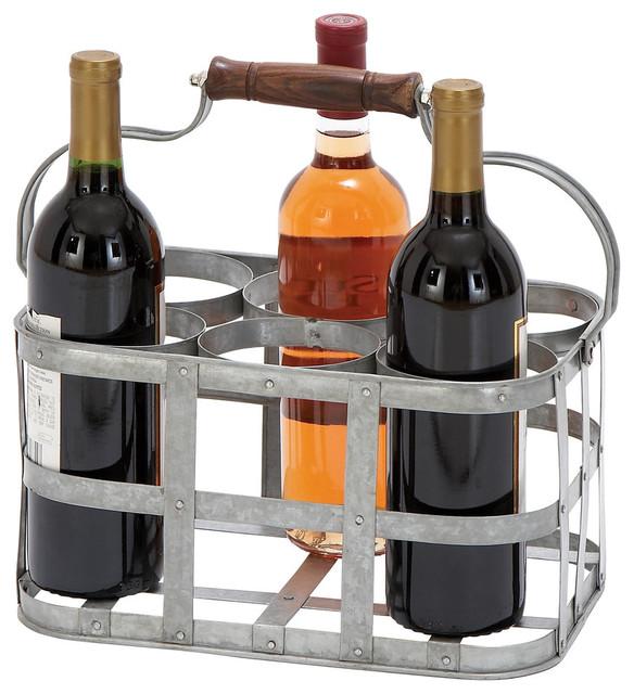 Rufus Galvanized Steel 6-Bottle Wine Holder.