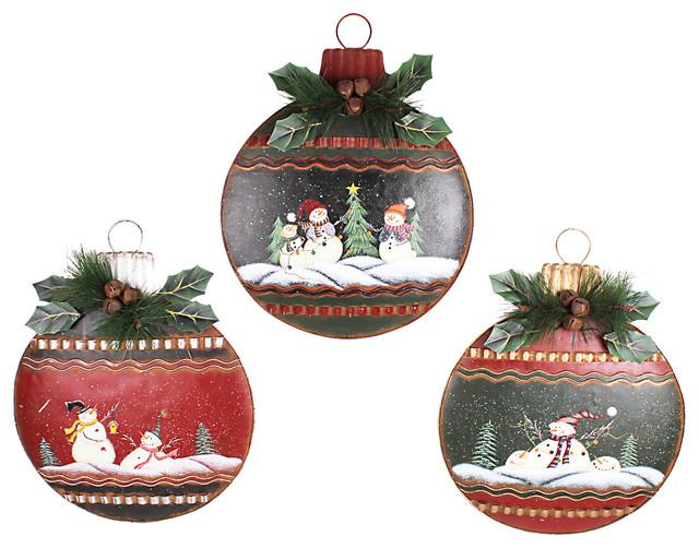 Metal Christmas Hanging Ornament Wall Decor Large, Set of 3