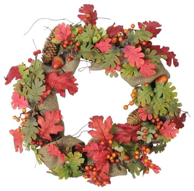 """18"""" Autumn Harvest Acorn Berry And Burlap Rustic Thanksgiving Wreath, Unlit."""