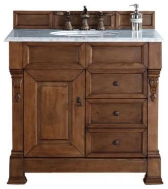 Brookfield 36 Country Oak Single Vanity, Drawers, 3 Cm Carrara Marble Top.