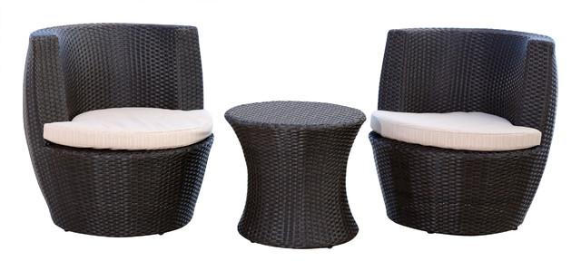 Newport Outdoor Espresso Brown Wicker 3-Piece Bistro Chair Set.