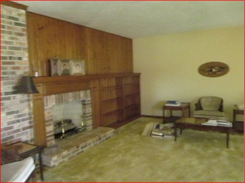 Early 80 S Living Room With Brick Wall And Built In Shelves
