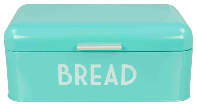 Home Basics  Metal Bread Box With Lid, Blue.