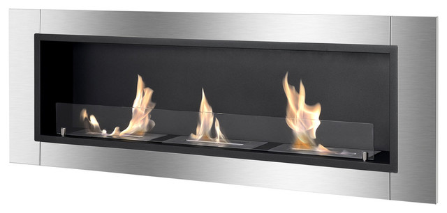Ardella Wall Mounted / Recessed Ventless Ethanol Fireplace With Glass Barrier.