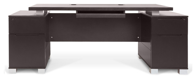Ford Executive Desk With Cabinets, Dark Wood.