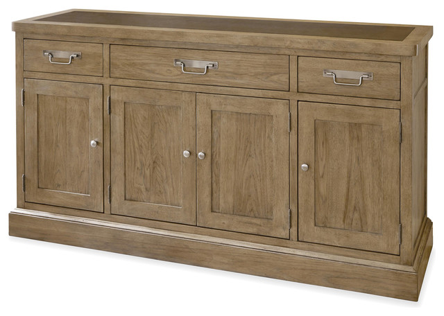 French Modern Light Wood 4 Door Buffet Sideboard with Metal Top rustic- buffets-and - French Modern Light Wood 4 Door Buffet Sideboard With Metal Top