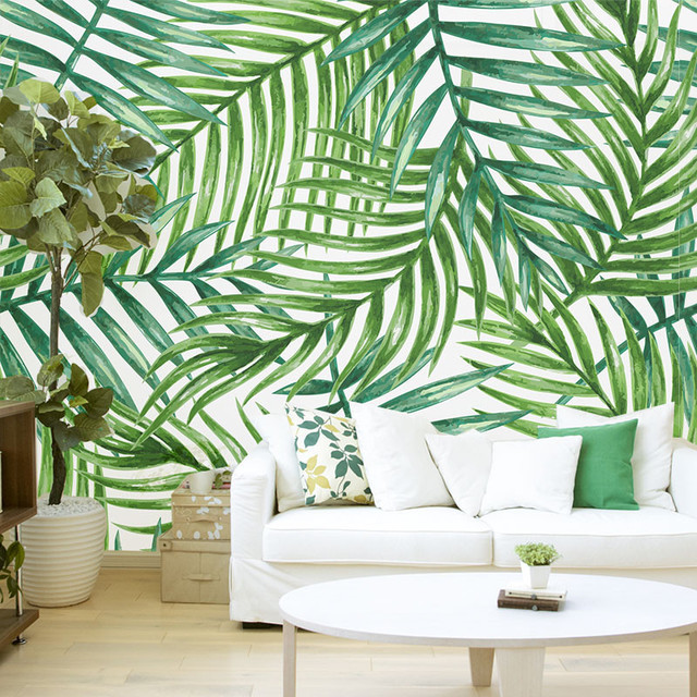 """Tropical Palm Leaves, Removable Wallpaper, 27""""x10&x27;."""
