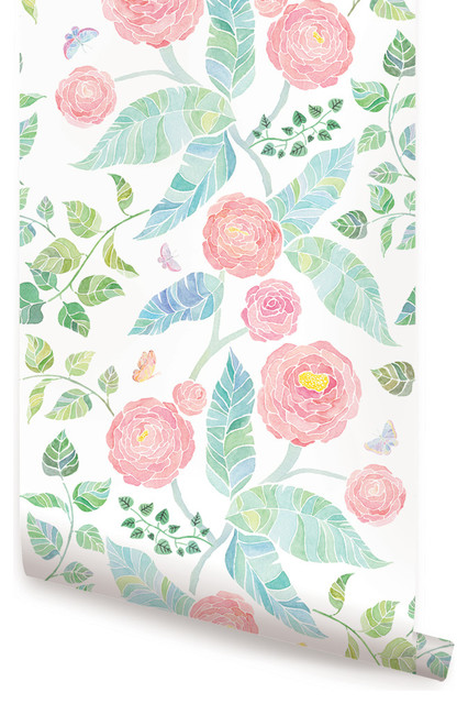 "Spring Garden Flowers Wallpaper, Peel And Stick, Pink, 24""x48""."