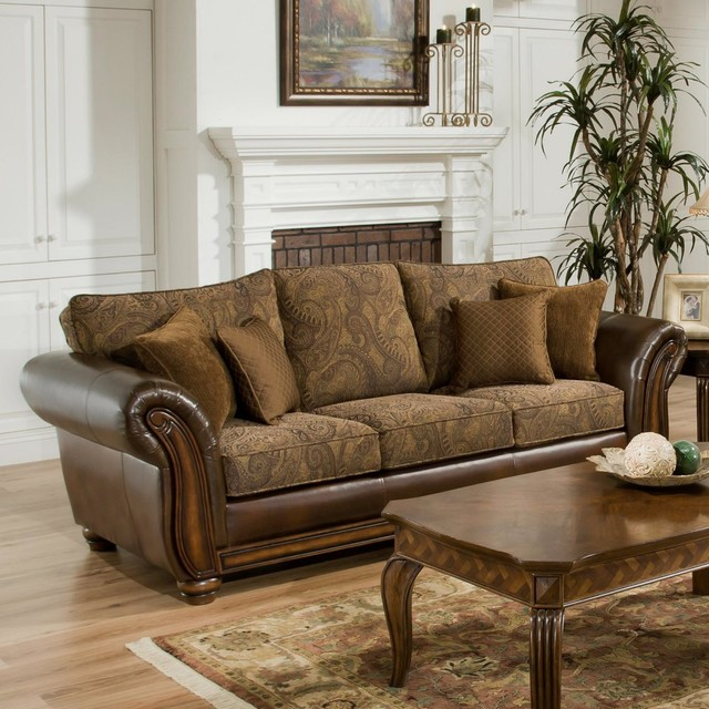 Simmons Zephyr Vintage Leather And Chenille Sofa With Accent Pillows Traditional Sofas By Hayneedle