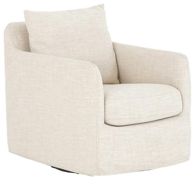 Aimee Modern Classic Ivory Upholstered Swivel Sofa Living Room Chair