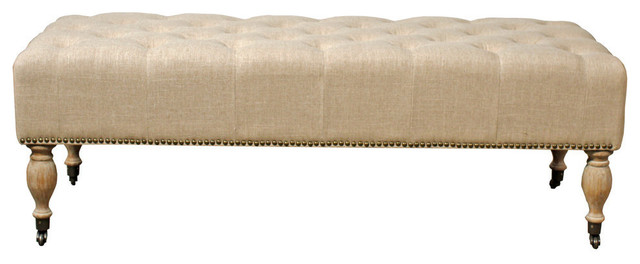 Charlotte Tufted Bench, Flax. -1