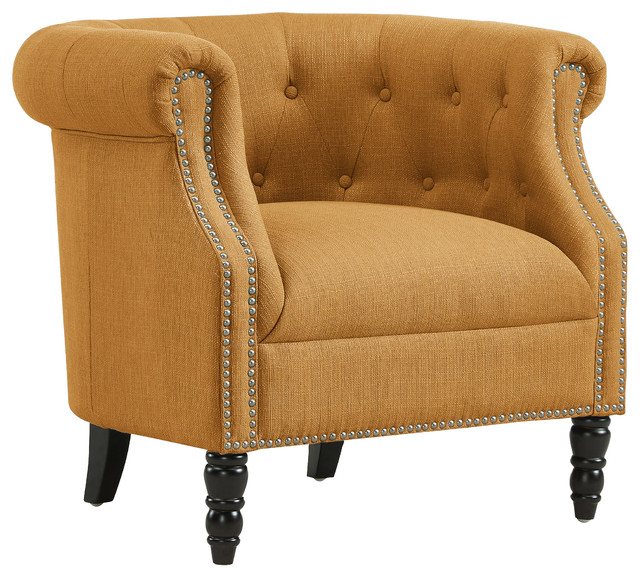 Incroyable Chesterfield Chair, Linen Mustard Yellow