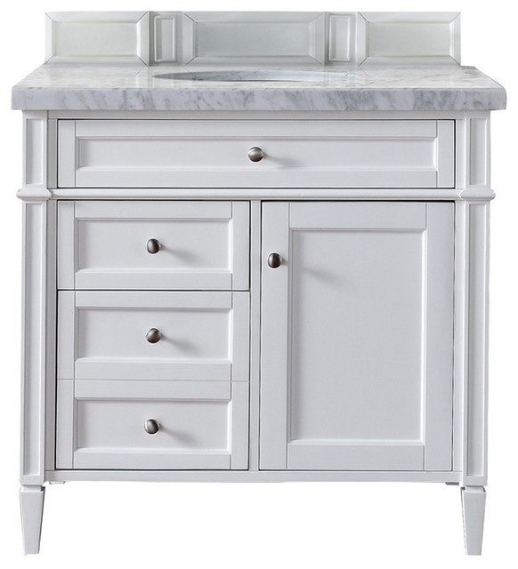 36 Brittany Single Sink Vanity With Cararra White Top, Cottage White by James Martin