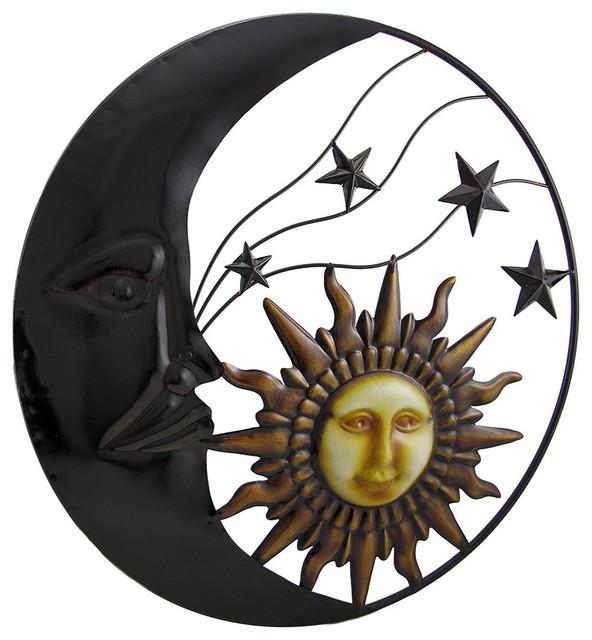 Celestial Metal Moon Sun And Stars Wall Art Hanging