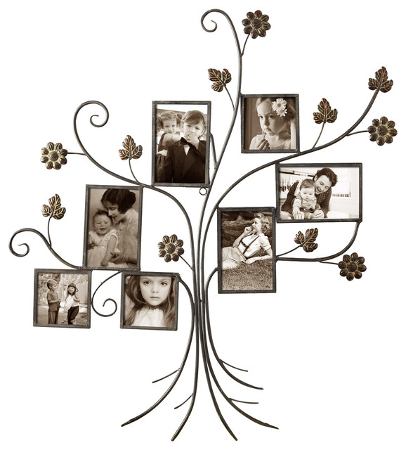 Adeco Decorative Bronze-Color Iron Tree Wall Hanging Collage Picture ...