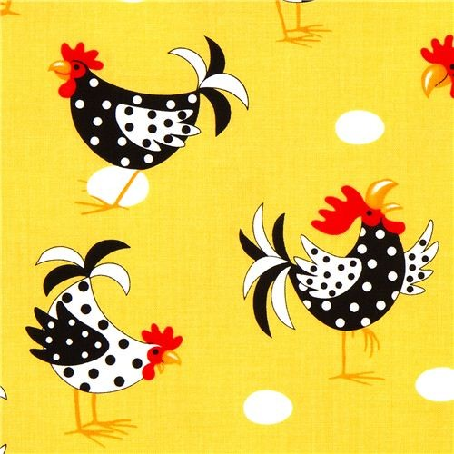 yellow fabric with chicken rooster egg Robert Kaufman