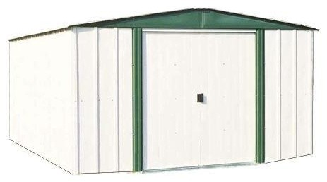 6&x27;x8&x27; Steel Storage Shed With Sliding Doors, White Eggshell And Green.