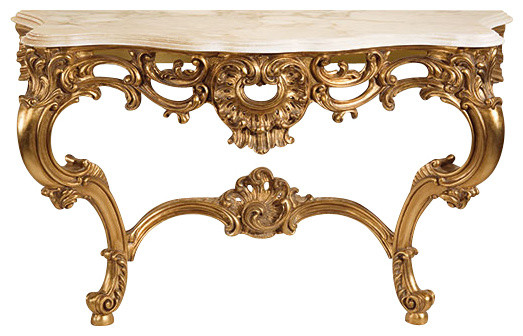 Louis Xv Console With Calacotta Marble Top Victorian Console Tables